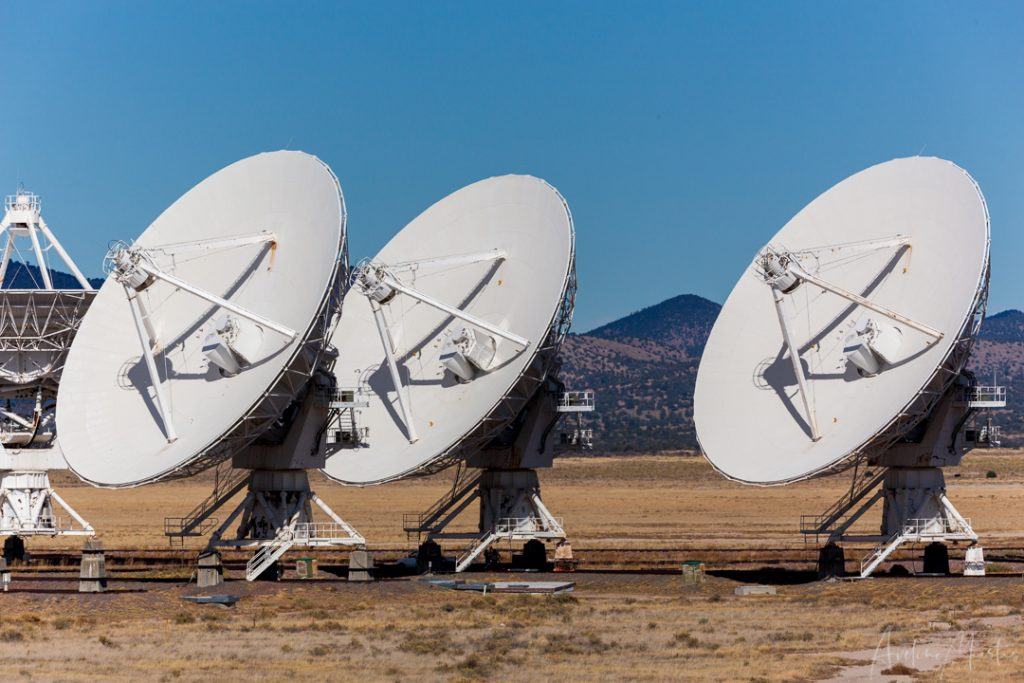 Three of the radio telescopes at the Very Large Array in New Mexico.
