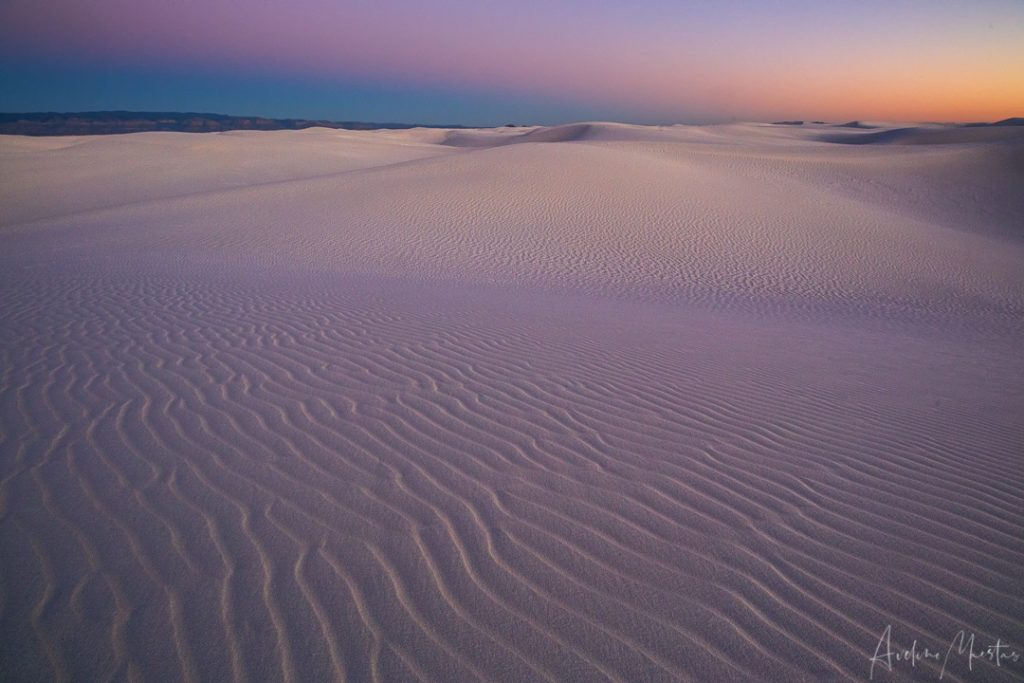 Waves of sand leading to the Dune Field west of Akali Flats Trail in White Sands National Monument.